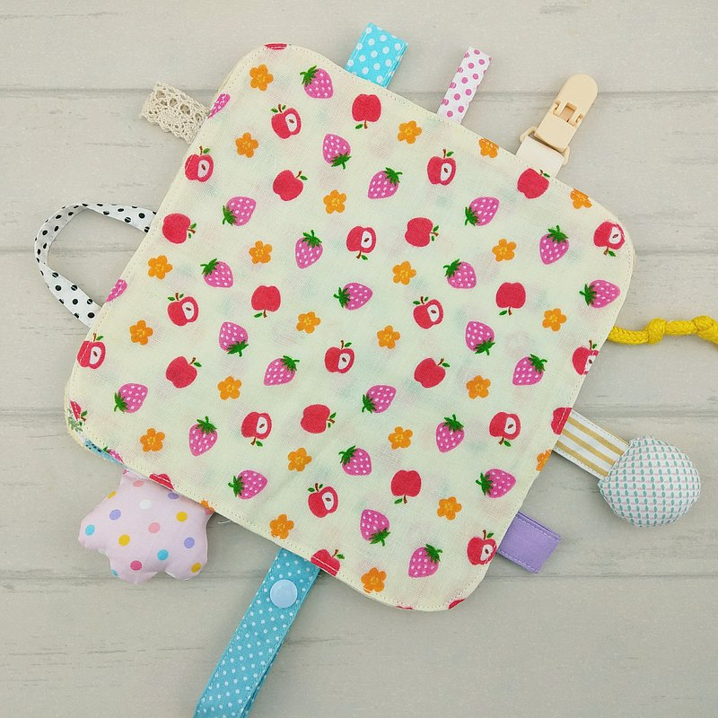 甜蜜小水果-2色可選。圓角響紙安撫巾 (免費繡名字)
