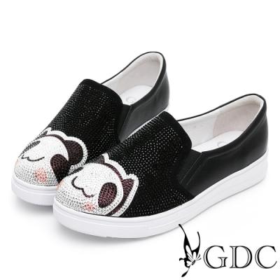GDC-卡哇伊趣味熊貓閃鑽舒適懶人休閒鞋-黑色