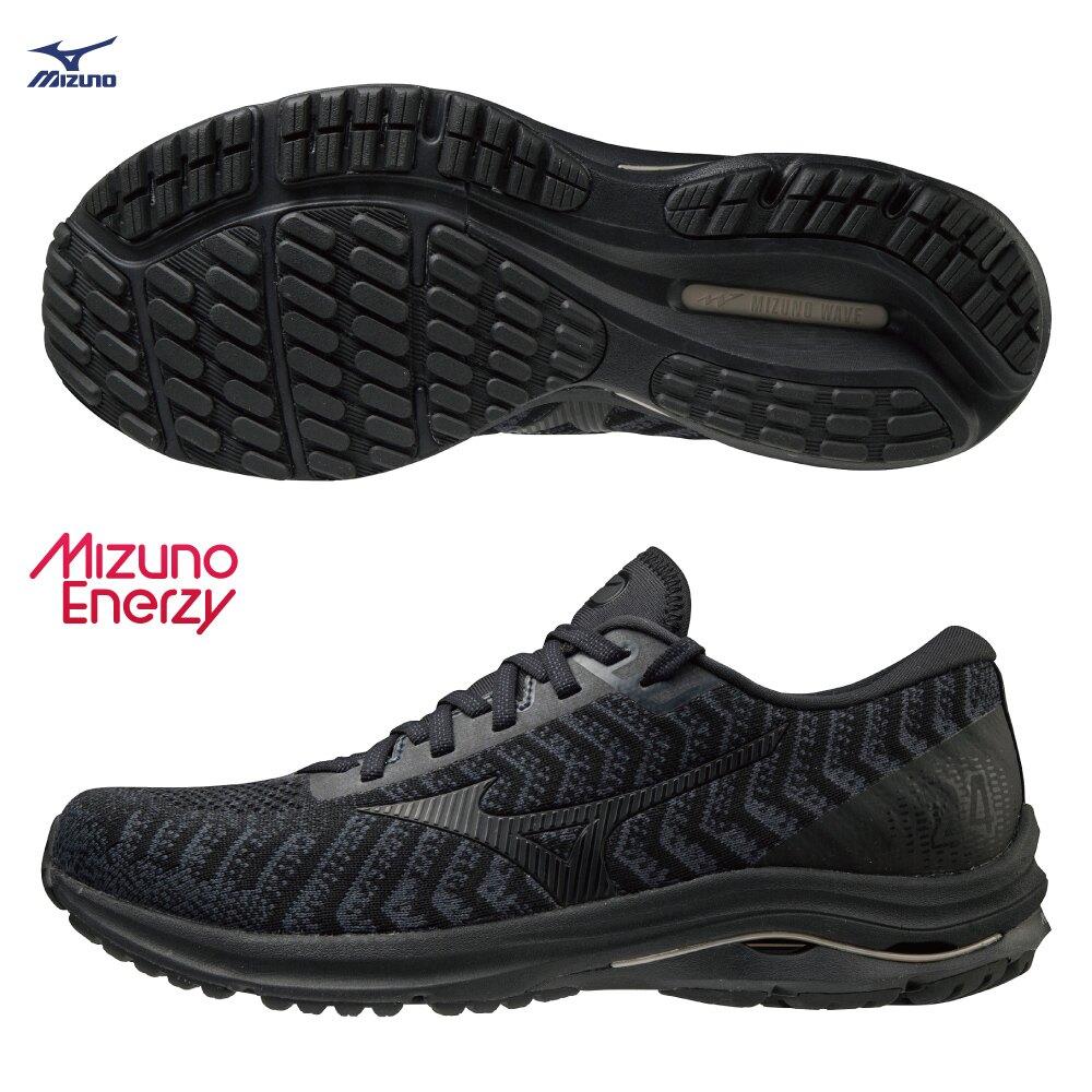 【全館滿額88折】MIZUNO WAVE RIDER 24 WAVEKNIT 男鞋 慢跑 ENERZY中底 黑【運動世界】J1GC207509