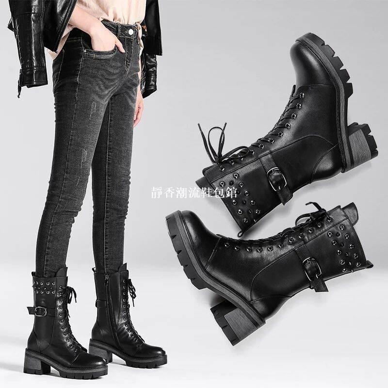 高跟繫帶馬丁靴韓版歐美馬汀靴 靴子鉚釘女冬軍靴厚底機車靴系帶扣帶馬丁靴女粗跟中筒短靴女加絨