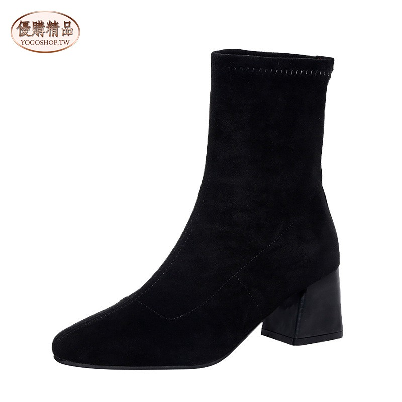 【YOGO優購】流行新款短靴 女 彈力靴 粗跟 ins網紅瘦瘦靴 英倫風女靴 女鞋 鞋子 鞋