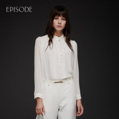 EPISODE - 米色圓領雪紡褶皺袖時尚百搭襯衫