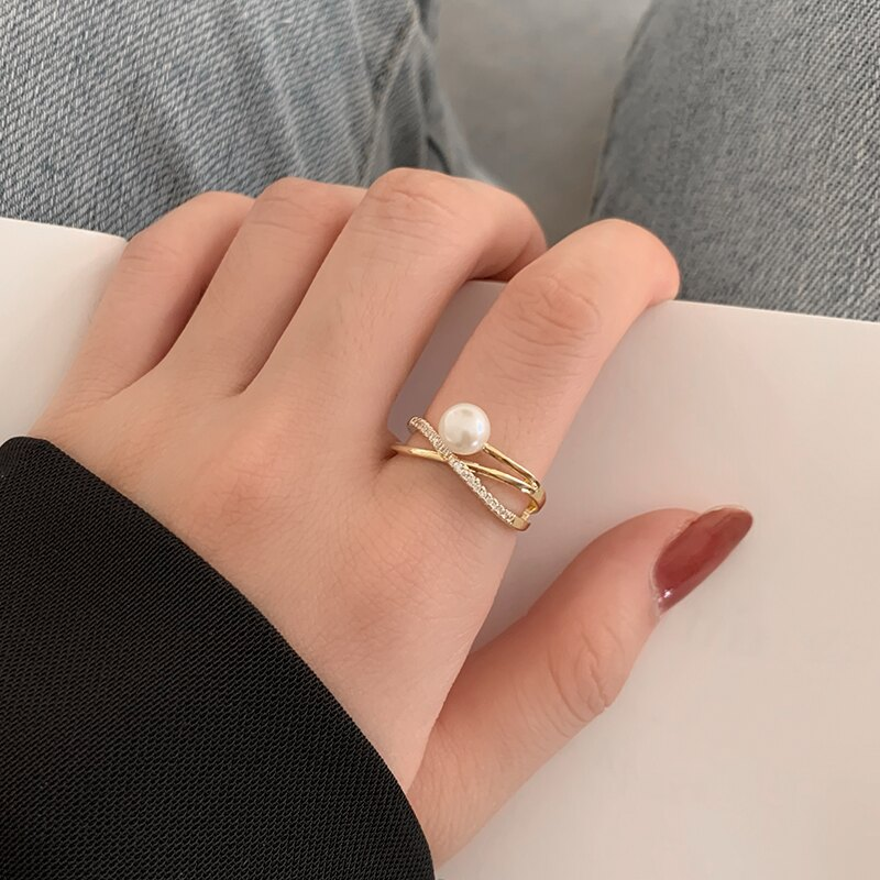 戒指 網紅淡水珍珠戒指女ins潮超仙時尚個性食指戒輕奢小眾設計感指環【xy4596】