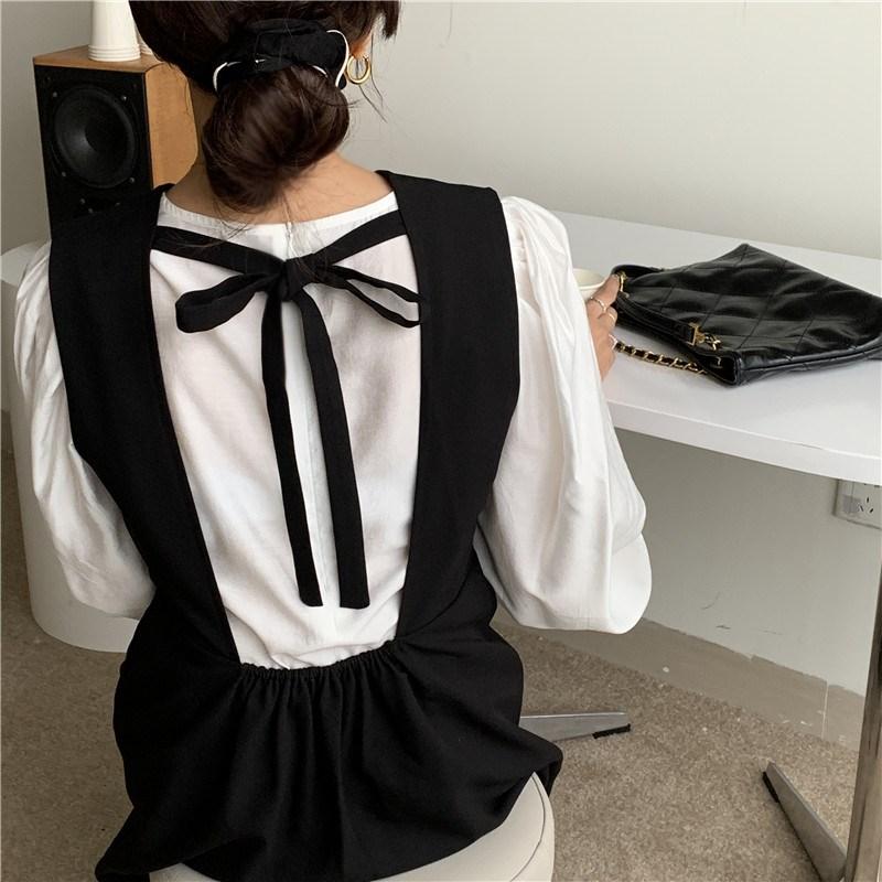 39869 法式複古赫本風連衣裙洋裝/簡約純色泡泡袖襯衫上衣 分開拍