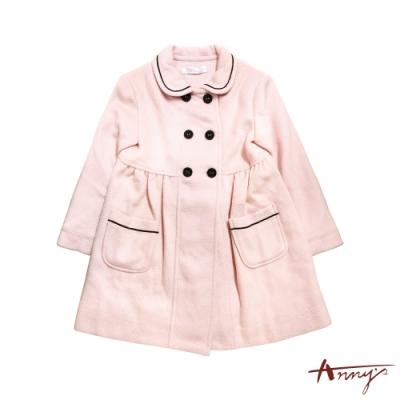 Annys安妮公主-甜美氣質秋冬款混羊毛排扣大衣*3654粉紅