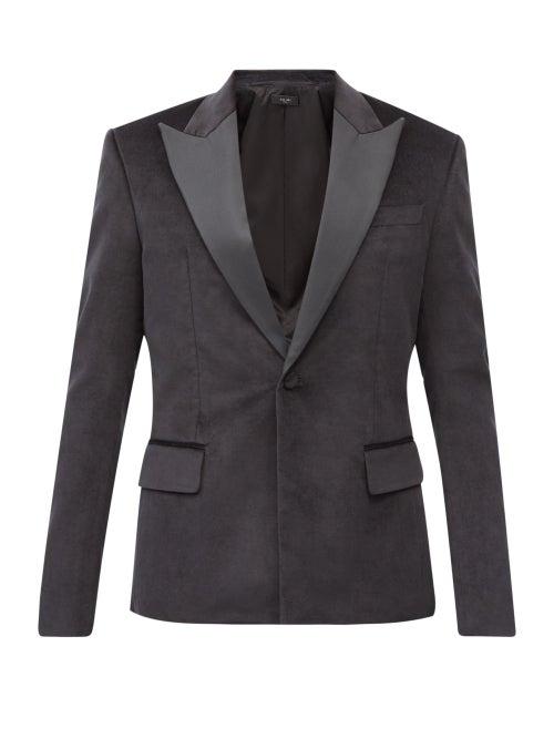 Amiri - Single-breasted Cotton-blend Velvet Jacket - Mens - Black