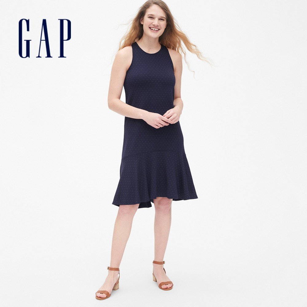 Gap 女裝 荷葉邊魚尾無袖洋裝 468902-海軍藍