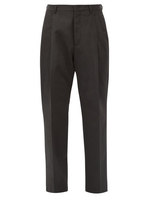 Valentino - Cotton-blend Faille Straight-leg Trousers - Mens - Black