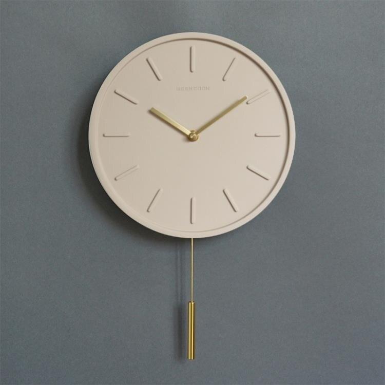 感恩回饋88折*掛鐘 新品北歐簡約現代水泥英寸石英鐘錶客廳工業風靜音時鐘-快速出貨免運