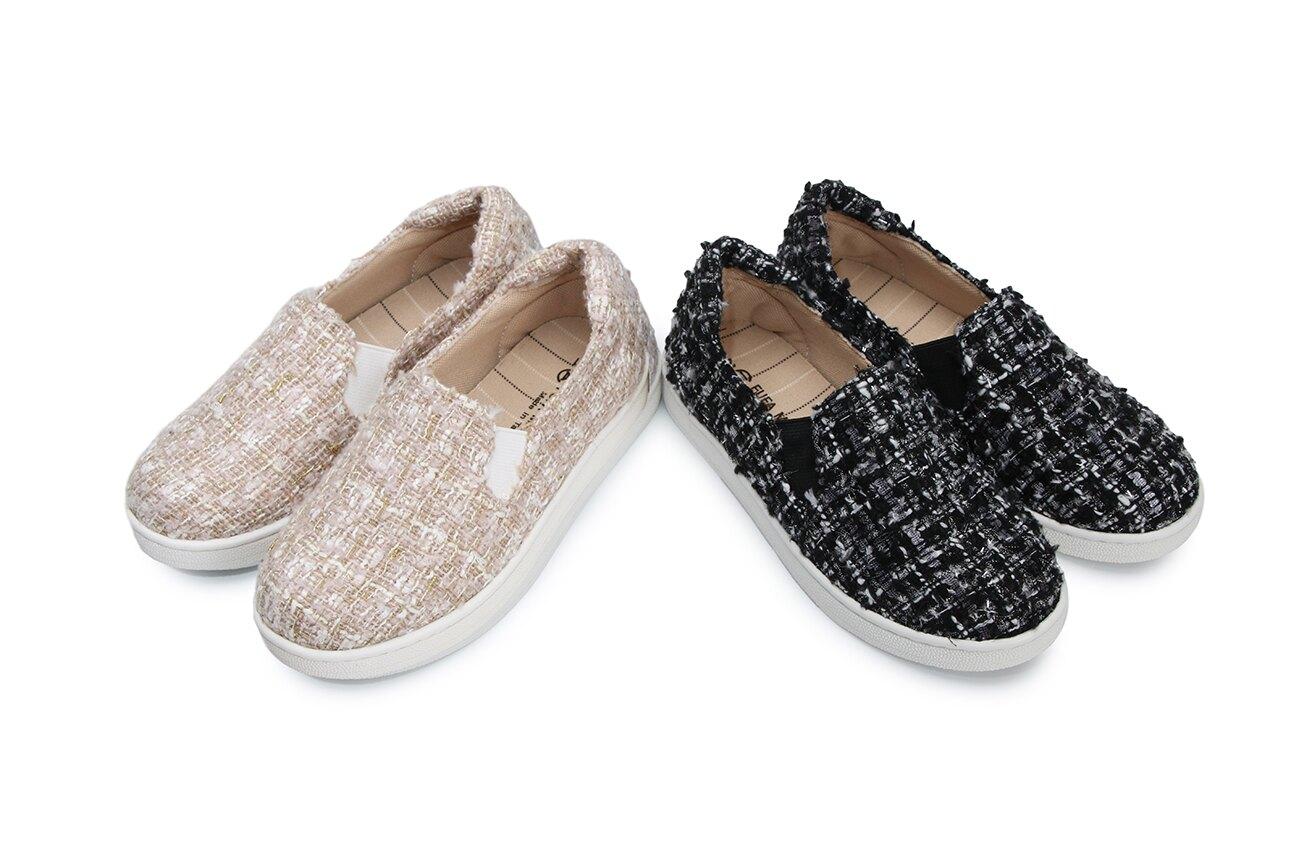 【12月新款】【超商免運】【富發牌】【童鞋】【台灣製造】巴黎香榭毛呢兒童懶人鞋 33BE95