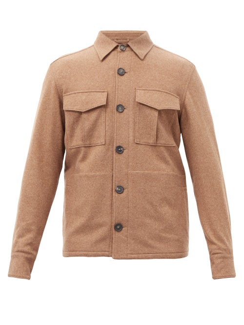 Thom Sweeney - Wool-blend Overshirt - Mens - Light Brown