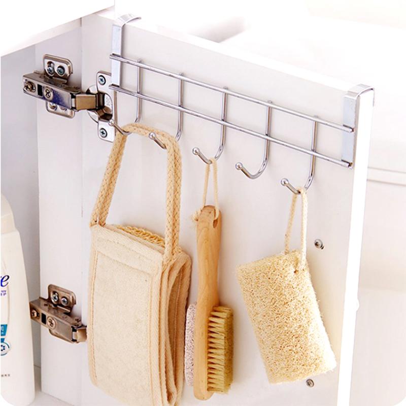 【買一送一】 萬用不鏽鋼櫥櫃門後多功能六連掛勾