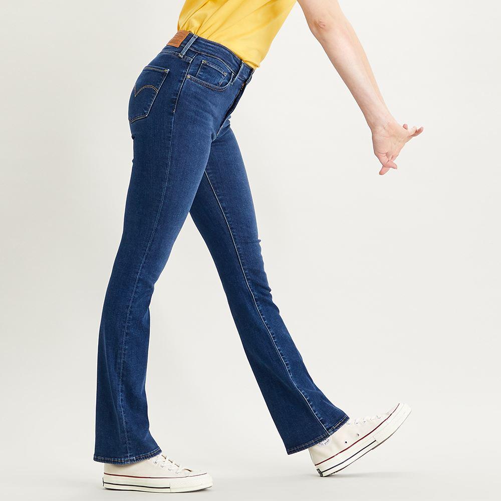 Levis 女款 725 高腰合身靴型牛仔褲 / 精工藍染水洗 / 彈性布料-人氣新品