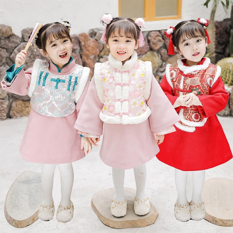 拜年服女童唐裝 女童漢服 女孩套裝旗袍 兒童新年服 女童中國風漢服唐裝 女孩外套秋冬裝