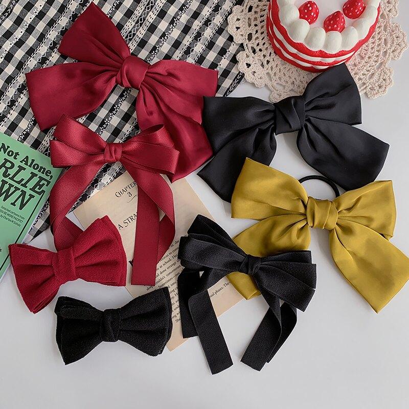 年新款黑色大蝴蝶結發夾女頂夾發卡頭飾網紅發繩紅色頭繩發飾