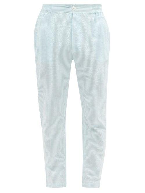 P. Le Moult - Striped Cotton-seersucker Pyjama Trousers - Mens - Light Blue