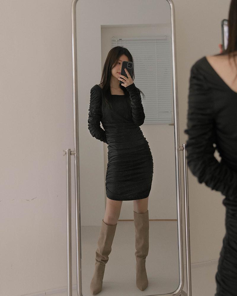 方領抓皺造型長洋裝-Mercci22