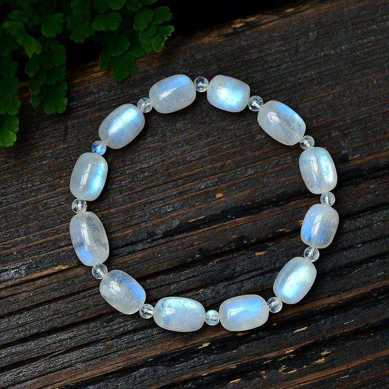 極品天然月光石藍月光桶珠手鏈 顆顆藍光 守護愛情 可遇不可求