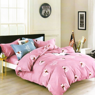 A-ONE 雪紡棉 雙人加大床包/薄被套四件組-旋律-粉 MIT台灣製