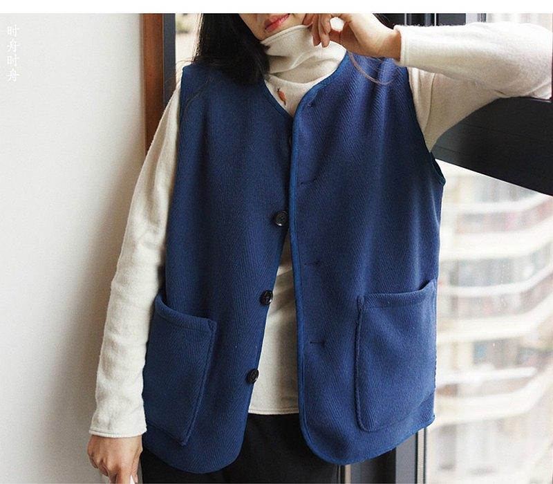 丈青色 進口暗紋藍色羊毛雙面呢 保暖雙兜 中性男女同款秋冬馬甲