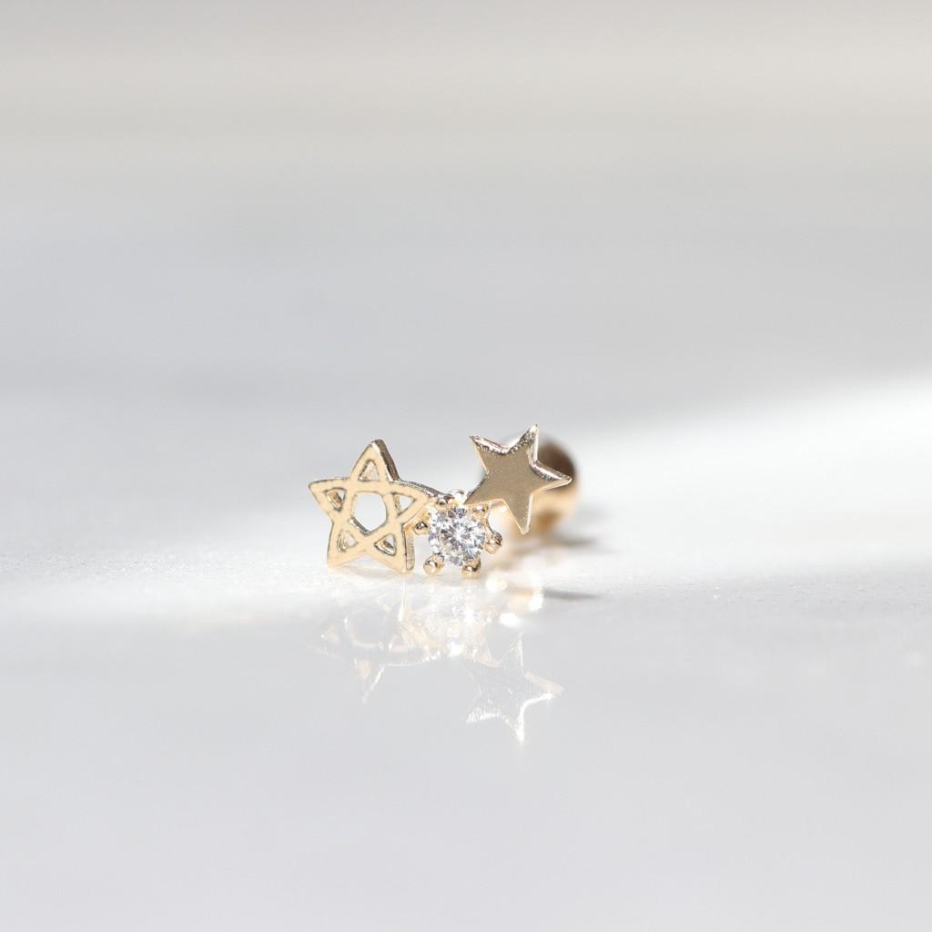 14K Triple Star CZ Piercing 星星鎖珠耳環(單個)