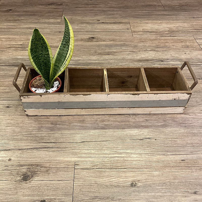 美式鄉村風米白作舊收納展示木盒 商品植栽多肉收納