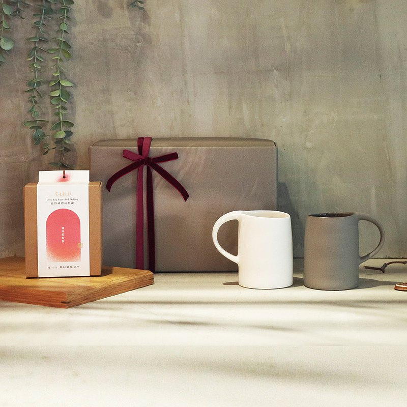 3,co x 掌生穀粒 - 水波馬克杯(2件式)-(白+灰) 茶包禮盒組