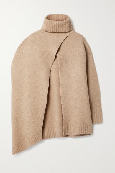 Deveaux - Molly 羊毛混纺高领披风 - 浅褐色 - x small