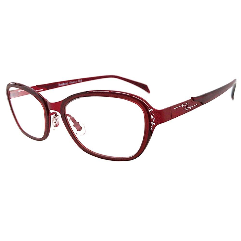 【SUNS】薄鋼系列光學眼鏡鏡框 雕花玫瑰紅(超輕材質/全框)