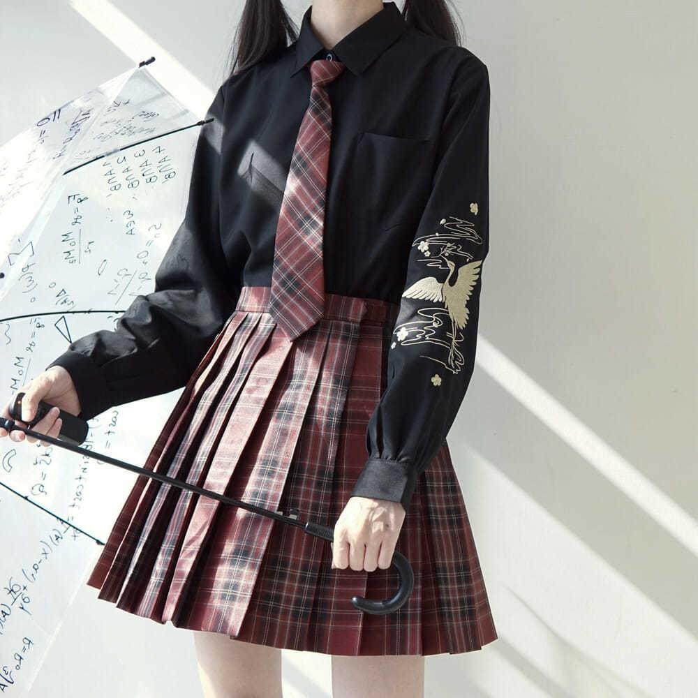 【現貨滿減免運】秋款女裝新款JK/DK制服正版仙鶴刺繡國風長袖黑白襯衫女學生寬松