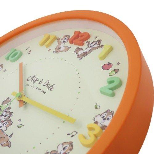 真愛日本 圓形壁掛鐘 奇奇蒂蒂 花栗鼠 迪士尼 彩色數字 黃 數字掛鐘 時鐘 壁鐘 客廳書房臥房布置