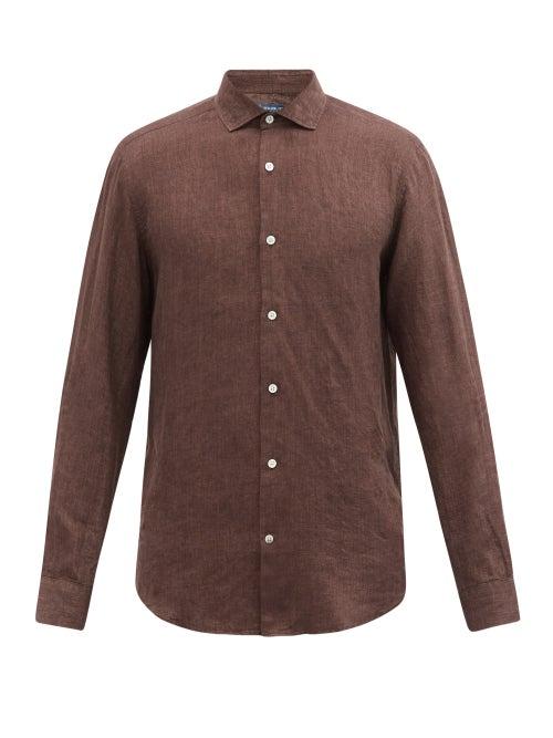 Frescobol Carioca - Slubbed-linen Poplin Shirt - Mens - Brown