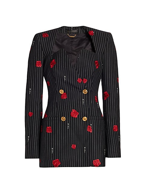 Rose-Print Pinstripe Double Breasted Jacket