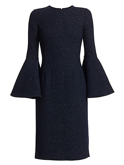 Shimmer Sparkle Wool Bell-Sleeve Dress