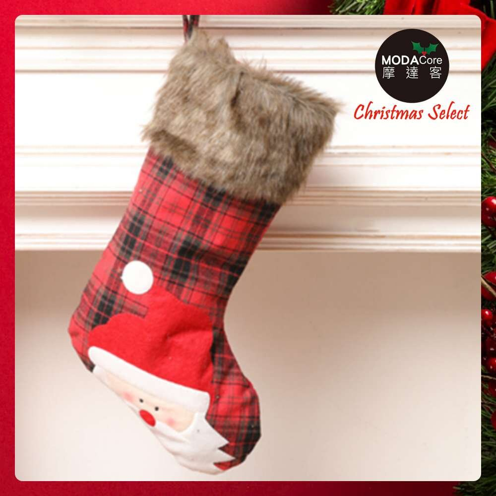 摩達客耶誕-蘇格蘭紅黑格紋毛毛領老公公質感聖誕襪