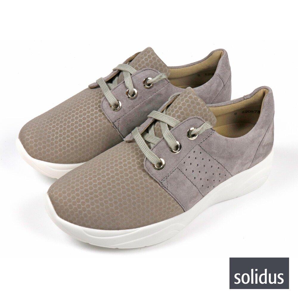 【Solidus】蜂巢造型透氣綁帶休閒鞋 灰紫色(66500-GRY)
