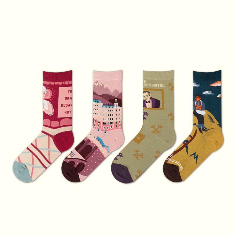 柳惠珠襪子 高級款 布達佩斯大飯店系列ins潮襪現貨情侶襪棉襪提花襪