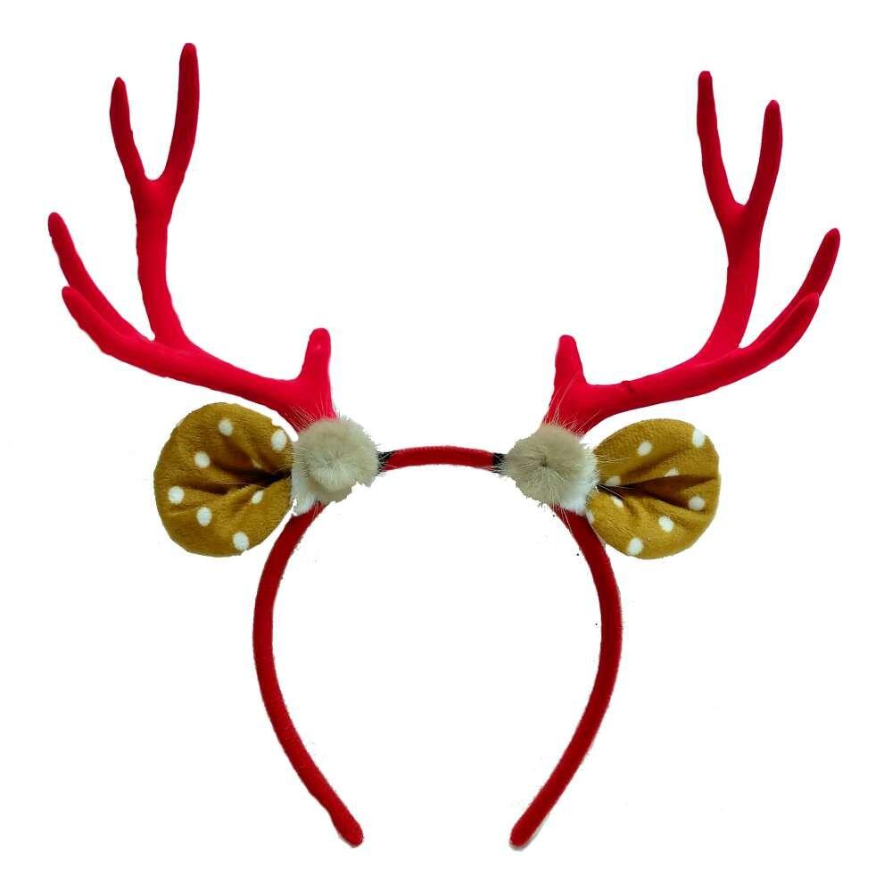 摩達客耶誕派對-大鹿角圓點耳毛球造型髮箍-紅色系