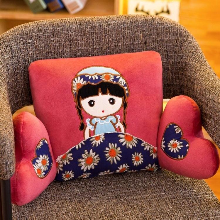 靠墊辦公室卡通布娃娃靠枕床頭靠背午睡枕椅子腰靠腰枕可愛抱枕