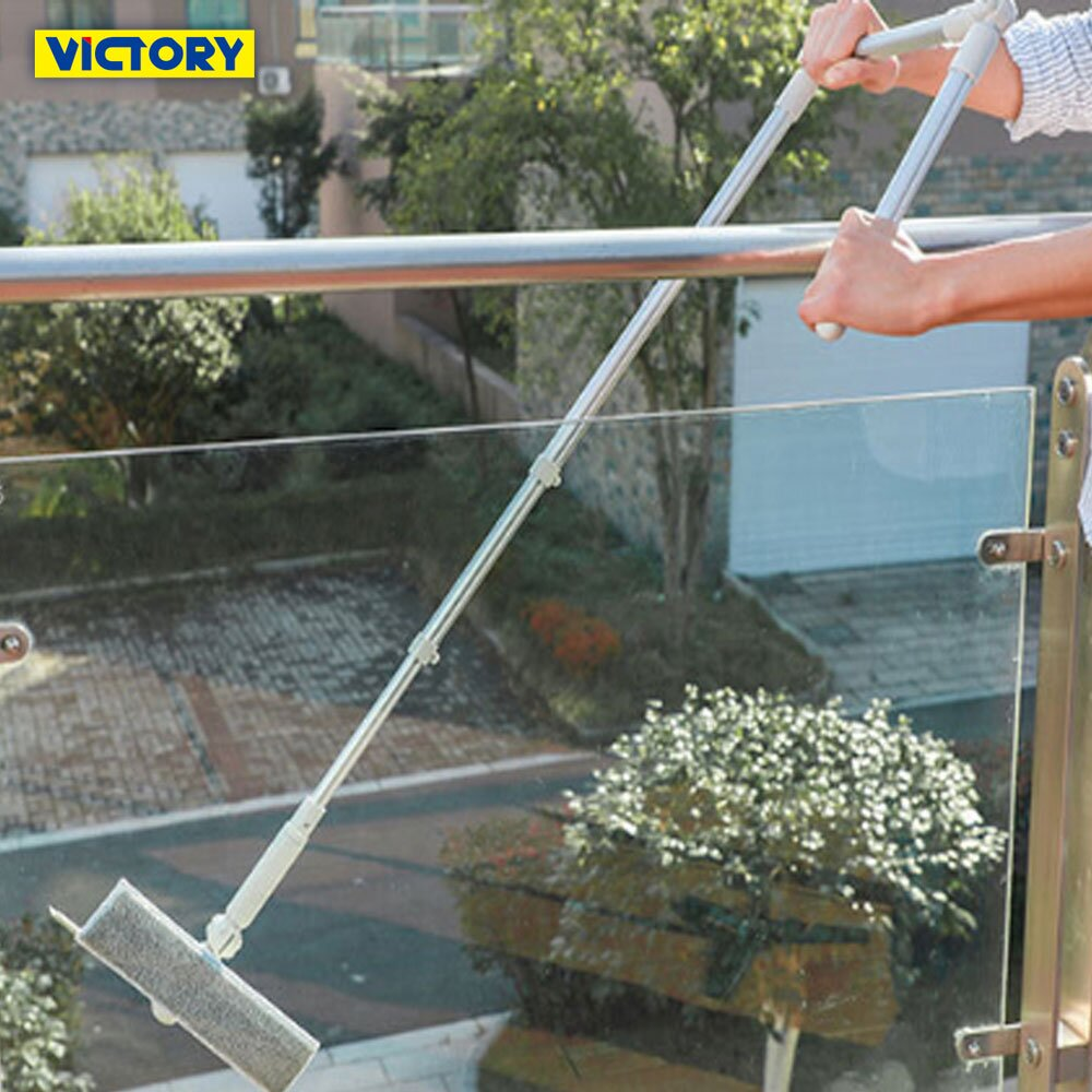 【VICTORY】高樓伸縮U型玻璃刮水清潔刷組(1刷2替換布)#1027023