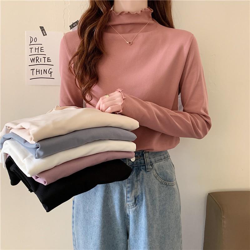 基礎款 長袖T恤衫 加絨 打底衫 高領 女生上衣 簡約 高領 純色 顯瘦 直筒 外穿 修身 長袖 T恤衫