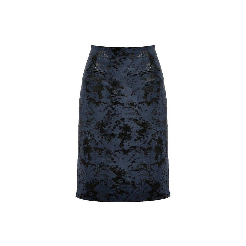 深色冰裂紋印花半身裙