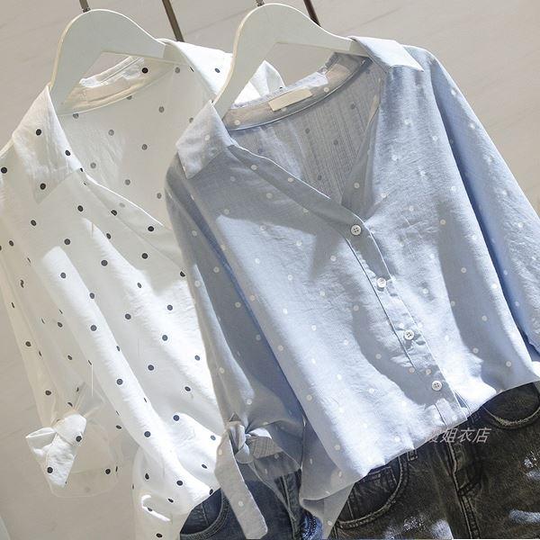 M-3XL日韓風春夏波點中袖寬鬆棉麻V領襯衫(2色)-優美依戀