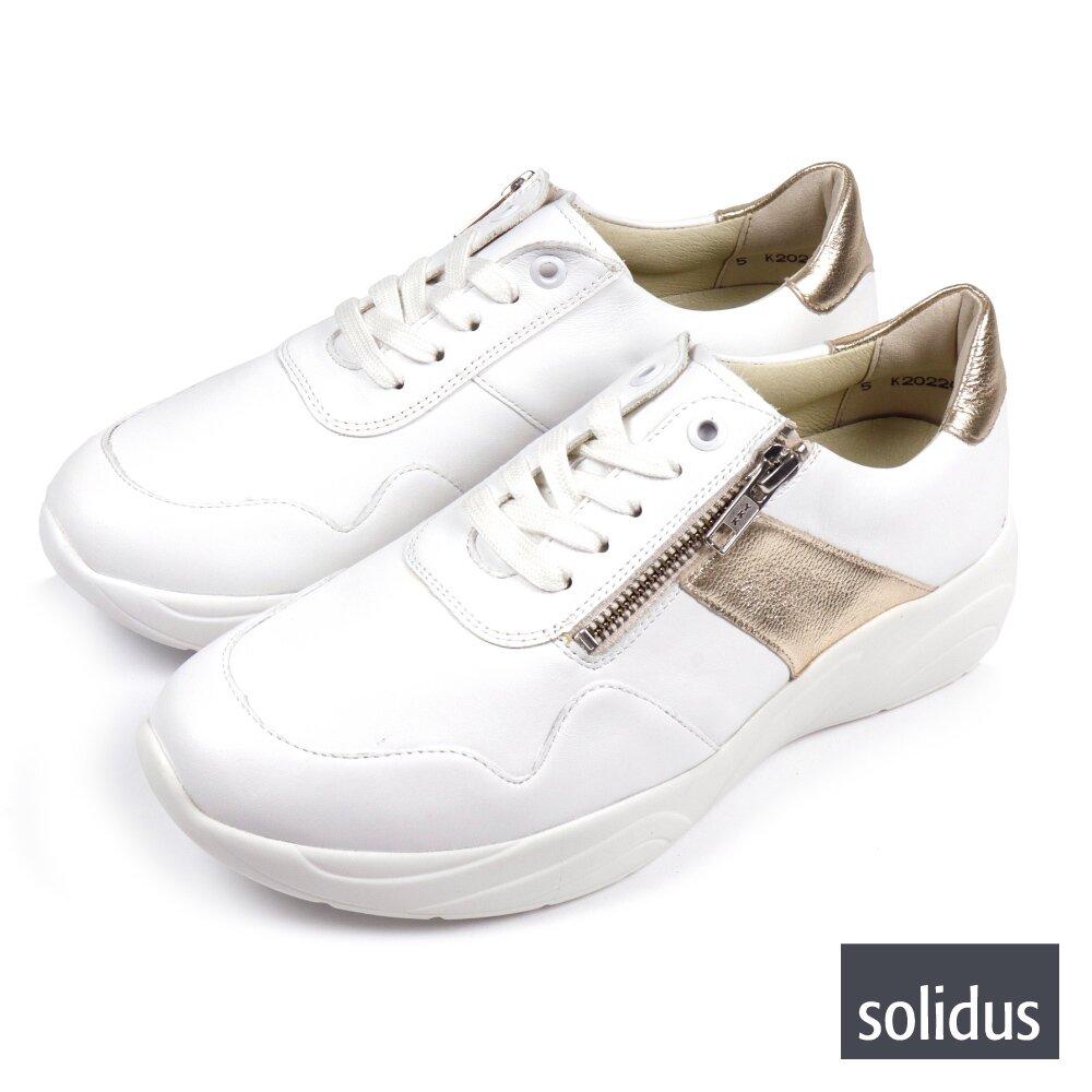 【Solidus】拚色拉鍊綁帶休閒鞋 白金色(66001-WH)