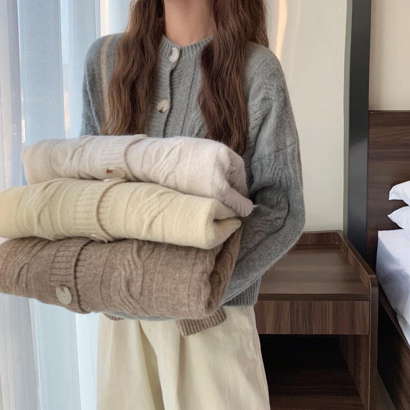 39814四色 休閒寬鬆針織衫 開衫 薄荷美衣