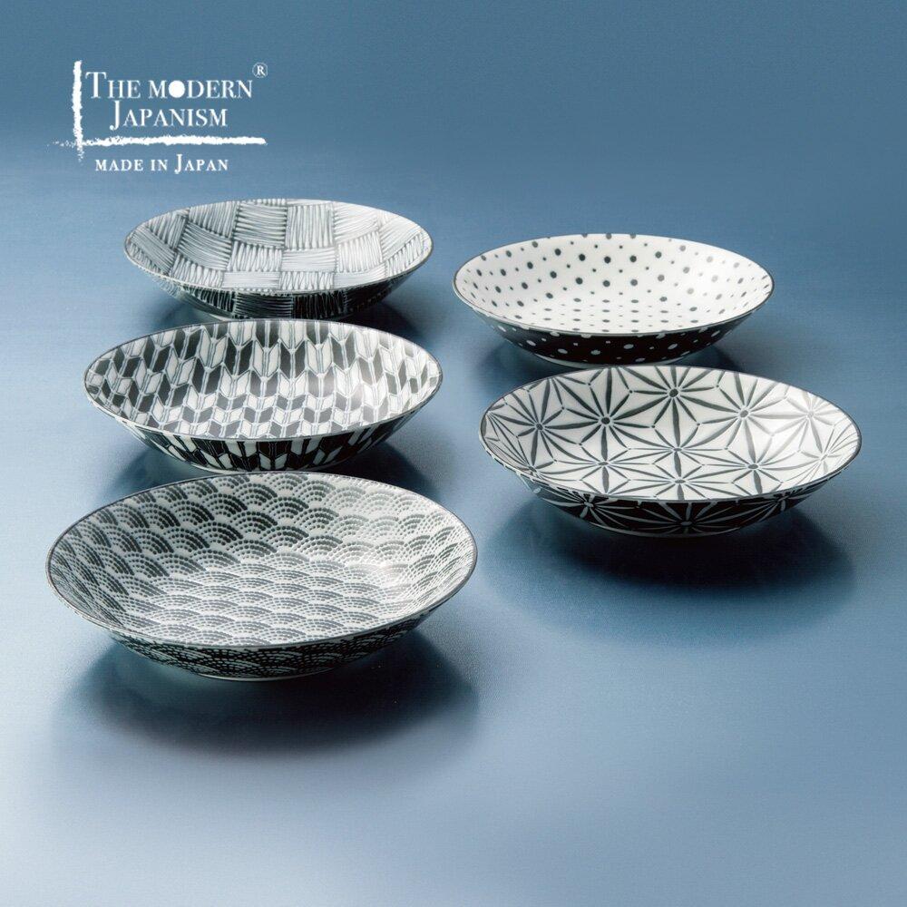 日本AWASAKA美濃燒 - 小紋深盤-禮盒組(5件式)
