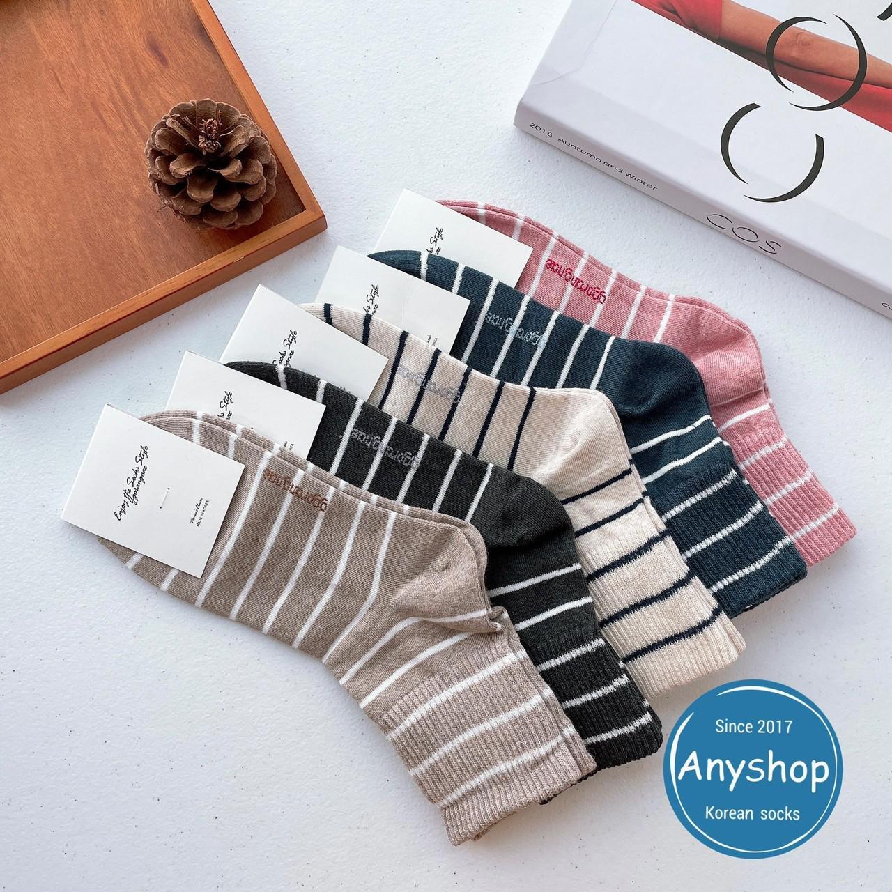 韓國襪-[Anyshop]細白條紋滿版長襪
