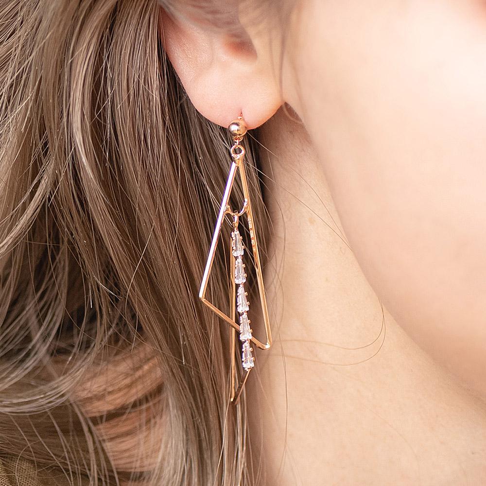 俐落三角排鑽垂墜925銀針耳環(2色)-A10243