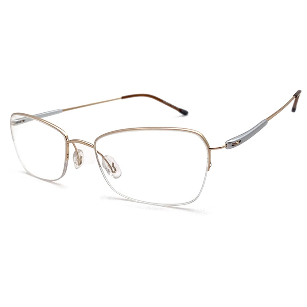 【SUNS】金屬系列光學眼鏡鏡框 雕花玫瑰框(純鈦+記憶/半框)