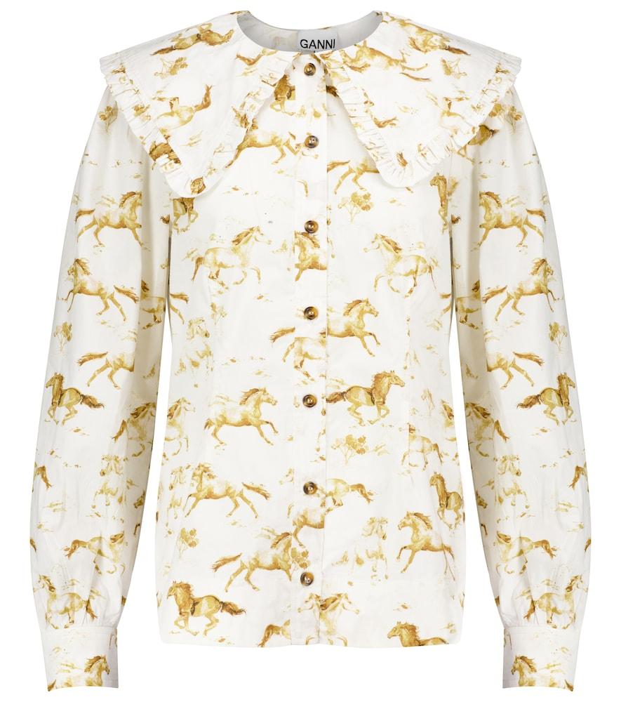 Printed cotton poplin blouse